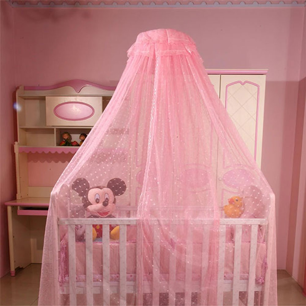 Baby Mosquito Net Kid Toddler Bed Crib Canopy Netting Hanging Lace Dome Round Hoop Canopy (Pink)