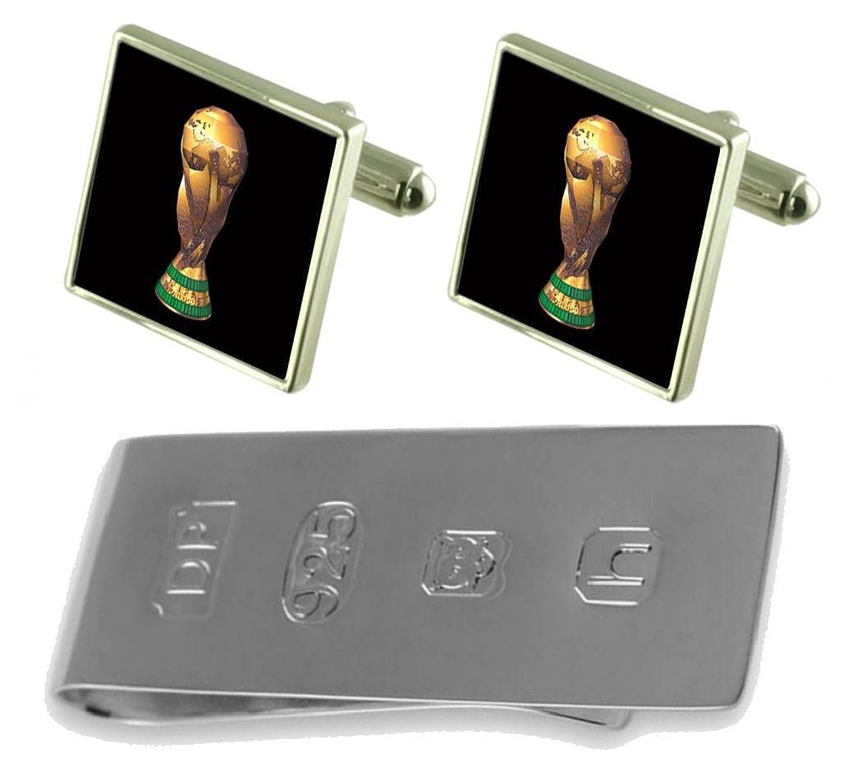Football World Cup Trophy Cufflinks & James Bondお金クリップ B077WYNZR2