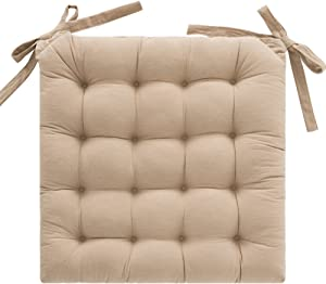 Non-Slip Cushion Chair Cushion Thick Tatami Buttocks mat Bay Window pad Office Chair Cushion Car seat Cushion-Beige 45x45cm(18x18inch)