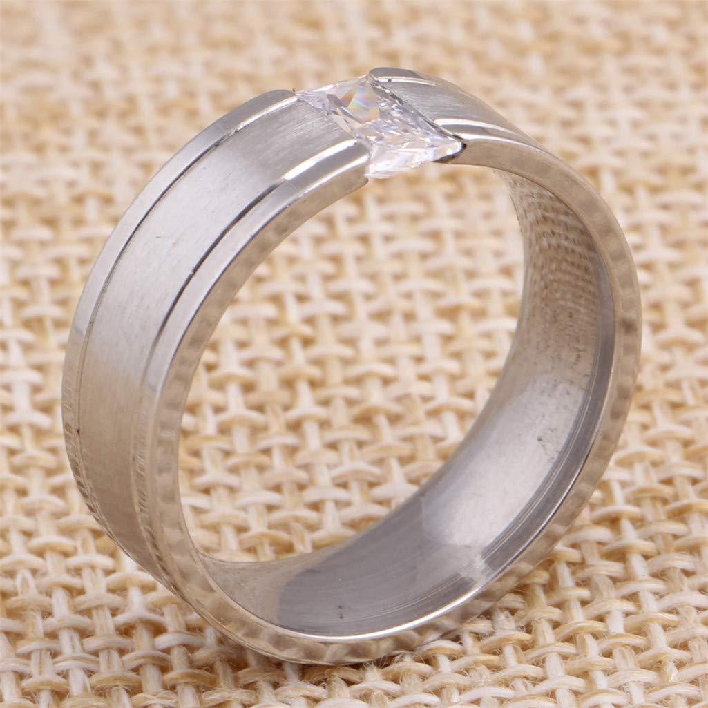 Guraxi Womens Simple Titanium Steel Diamond Rings