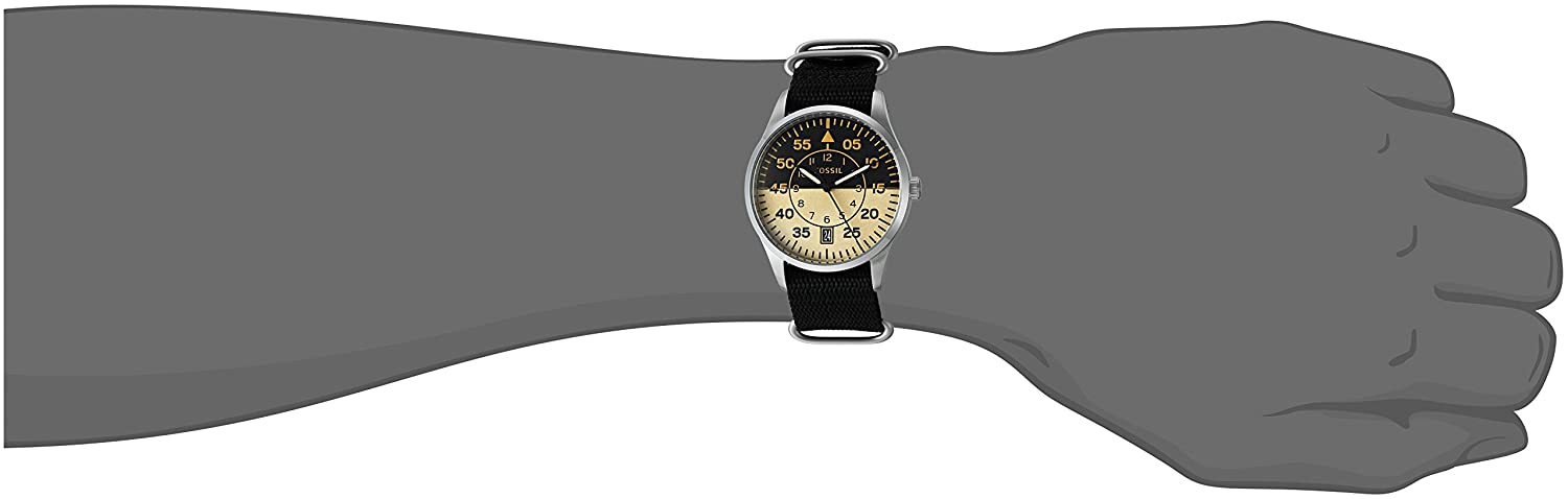 e439fc1d0 Fossil Mens FS5248 Vintage 54 Aviator Three-Hand Date Black Polyester Watch:  Amazon.co.uk: Watches