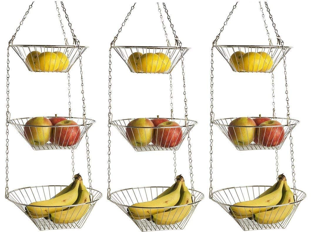 Home Basics-HB00099-Hanging Basket-3 Tiers-Round-Gold and Silver HDS TRADING CORP