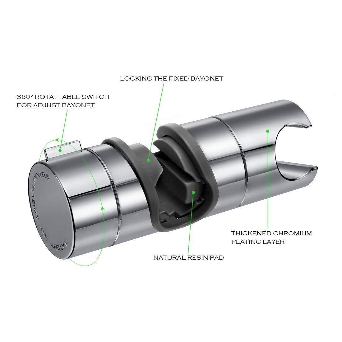Vankii Support de barre de douche r/églable en ABS pour barre de douche Chrom/é 18-25 mm