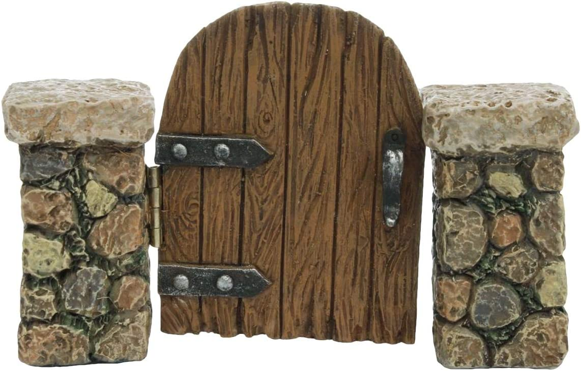 TG,LLC Miniature Stone Pillar Wood Gate Fairy Garden Ornament Dollhouse Decor Accessory