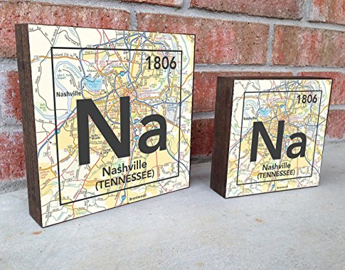 Nashville Tennessee Na City Vintage Periodic Chart Map Art Print on Wooden Block, Home & Wall Decor, Wedding-Housewarming - Birthday - Valentines Day - Christmas gift for her Block City Map Art