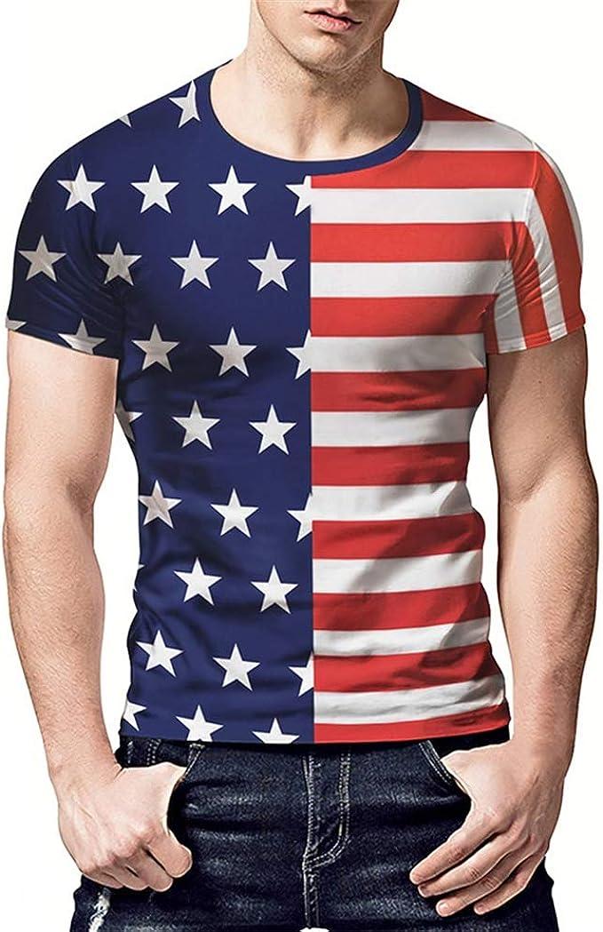 BaronHong Camiseta Hombre con Estampado de Rayas de Estrellas de la Bandera de América, Estampado 3D: Amazon.es: Ropa y accesorios