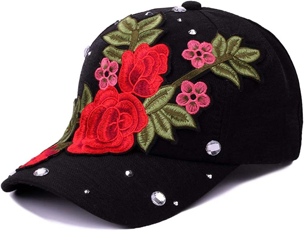 Women Rhinestone Rose...