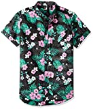 Brooklyn Athletics Men's Hawaiian Aloha Shirt Vintage Casual Button Down Tee