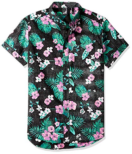 1adf9197 Brooklyn Athletics Men's Hawaiian Aloha Shirt Vintage Casual Button Down Tee,  Black Hibiscus Medium