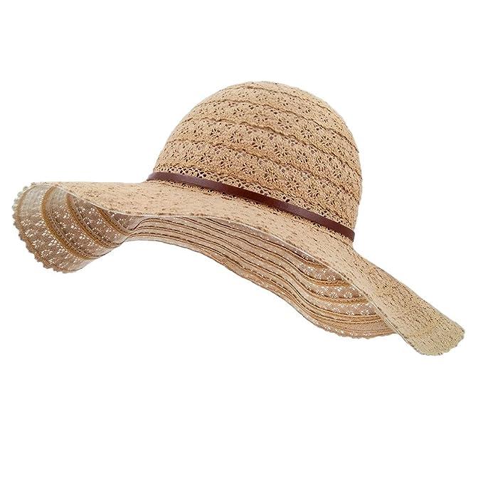 aa6b3cdd6e1d6 lethmik Womens Summer Lace Sun Hat Floppy Wide Brim Beach Cotton Bucket Hat  Khaki-Wide