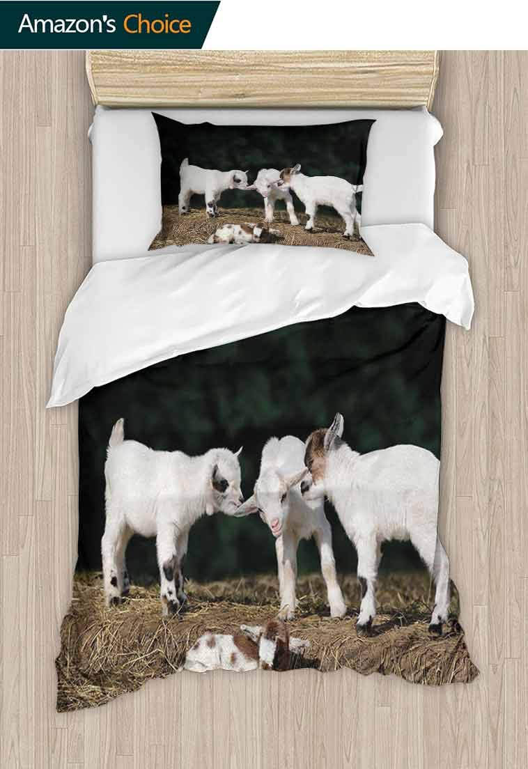 Animal Diy Duvet Cover and Pillowcase Set, Cute Adorable Baby Sibling Goats playing Eachother on a Solid Rock in a Farm, Print Duvet Cover Sets Soft Microfiber 2Pcs Quilt Cover, 71 W x 79 L Inches