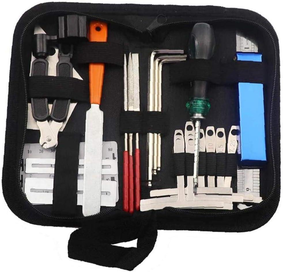 Chitarra Tool Kit riparazione manutenzione Strumenti String Organizzatore String azione righello Tastiera Guardia Set 25PCS Music Production