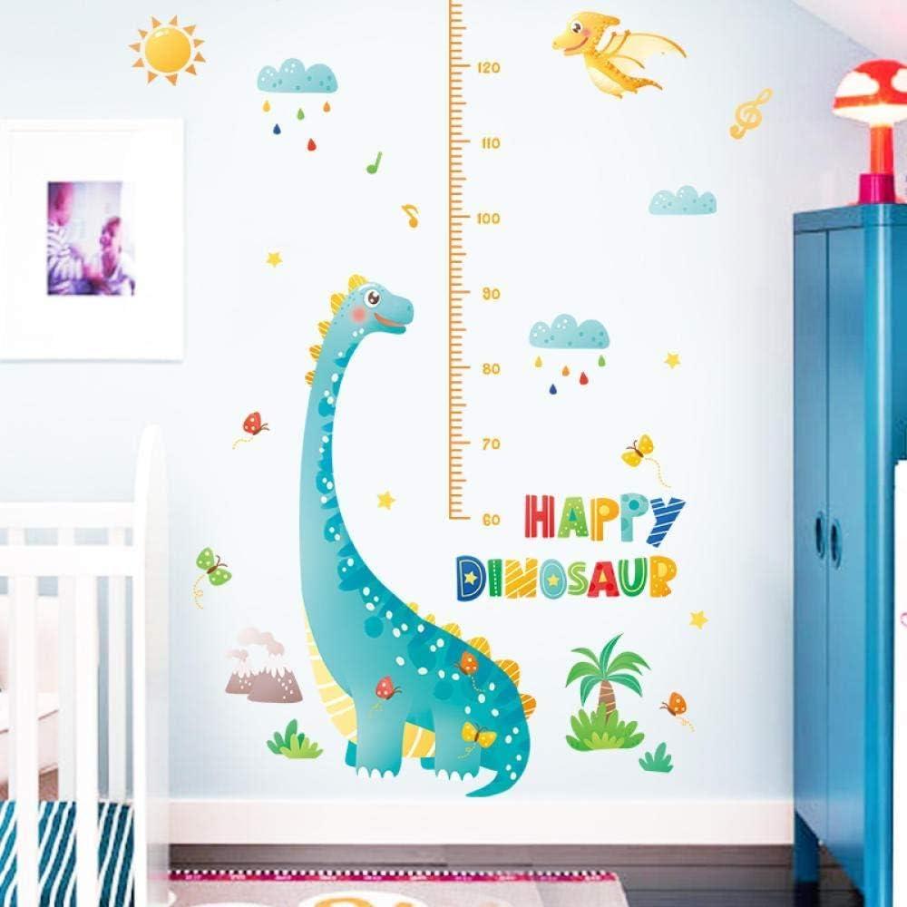 Tabla de altura del ni/ño dinosaurio de dibujos animados decoraci/ón de medici/ón del sal/ón del dormitorio vinilo adhesivo habitaci/ón pegatina de pared