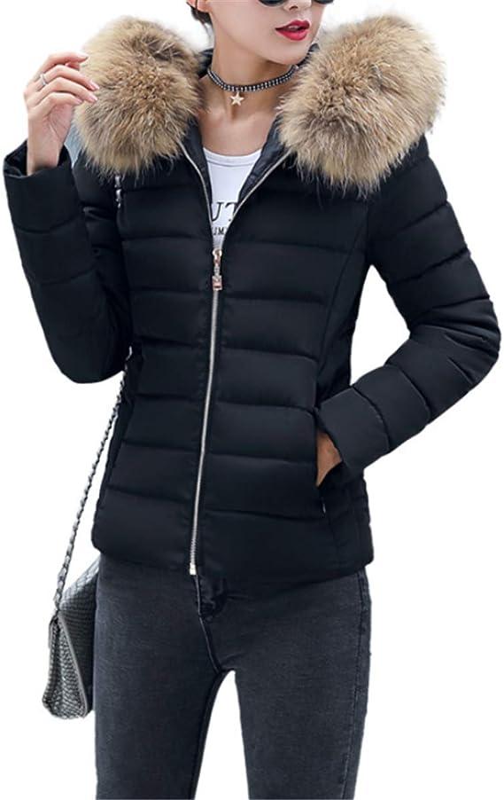 Fanessy Manteau Femme Hiver Doudoune Femme Court à la Mode avec Capuche en Fourrure Mince Garder au Chaud Grande Taille Plusieurs de Couleurs