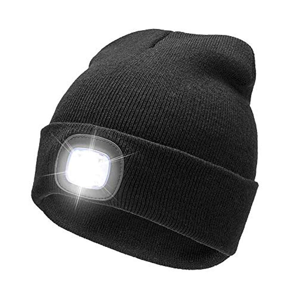 c29fe3bafa0b9 Beanie With 4LED Super Bright Knit Hat With Light USB Rechargeable Hands  Free Headlamp Cap for Winter Outdoor Fishing Hunting Camping Jogging  (black)  ...