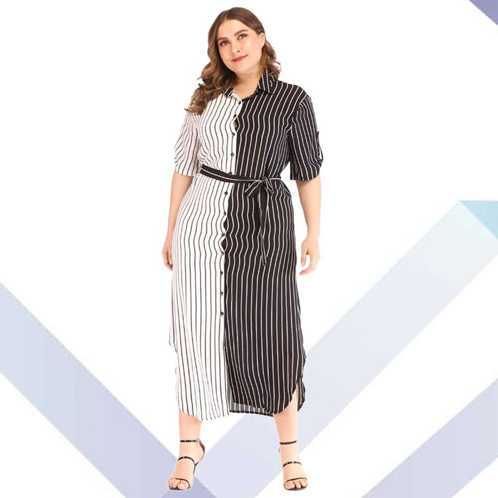 Black And White Striped Shirt Dress Plus Size – DACC