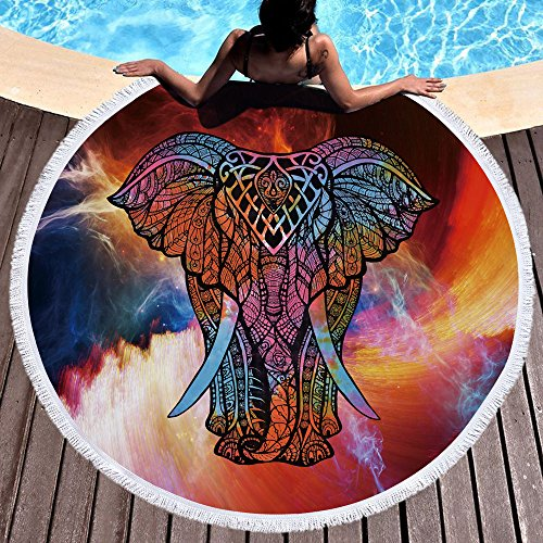 Violet Mist Mandala Round Beach Towel Soft Microfiber Thick Large Tapestry Table Cloths Roundie Beach Blanket Throw Picnic Yoga Mat Terry with Fringe Tassels 59 Inches (Elephant 4) (Beach Elephant)