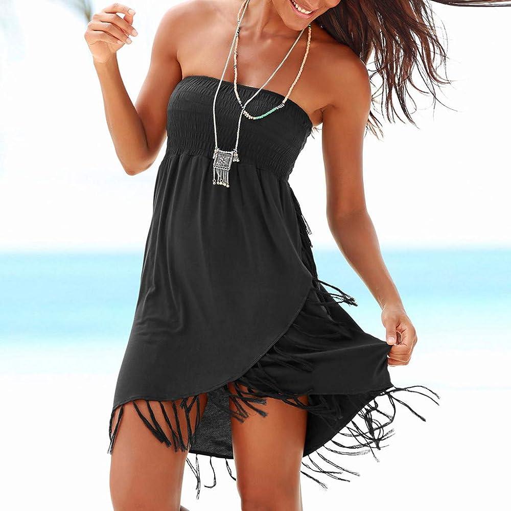 Top de Tubo para Mujer Falda con Flecos Vestido de Playa Negro ...