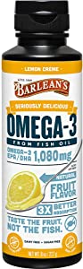 BARLEAN'S Seriously Delicious Omega-3 Sorbet Lemon Creme from Fish Oil with 1080mg of EPA/DHA - All-Natural Fruit Flavor, Non GMO, Gluten Free FG-10043, Lemon Zest, 8 Ounce