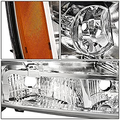 Replacement for Chevy Tahoe/Suburban/Avalanche 1500 2500 Pair of Chrome Housing Amber Corner Headlight: Automotive