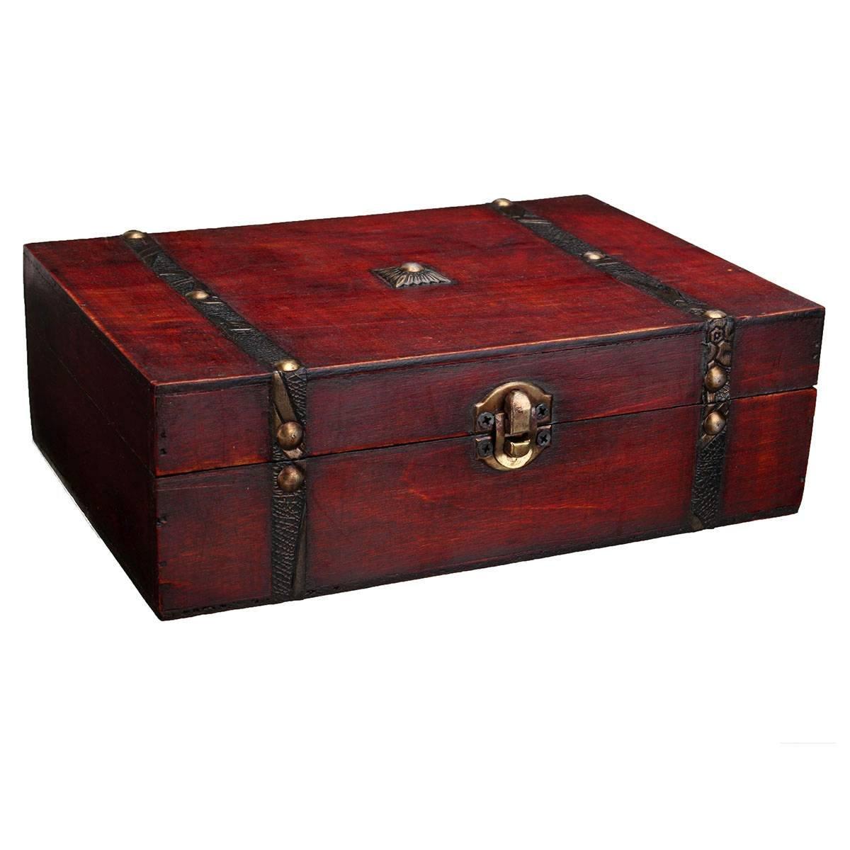#LuckyFine Charmine Schmuckschatulle Holz Box Retro#