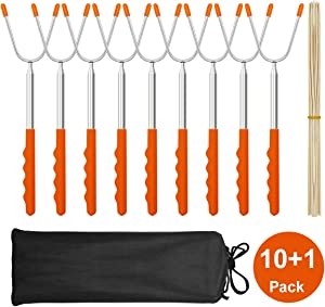 "MASSUGAR Marshmallow Roasting Sticks 10 Pack Extra Long 45"" Stainless Telescoping Hot Dog Smores Skewers Kids Safe Barbecue Forks for Camping, Campfire, Bonfire Kids, with 10 Bamboo Skewers (10 Pack)"