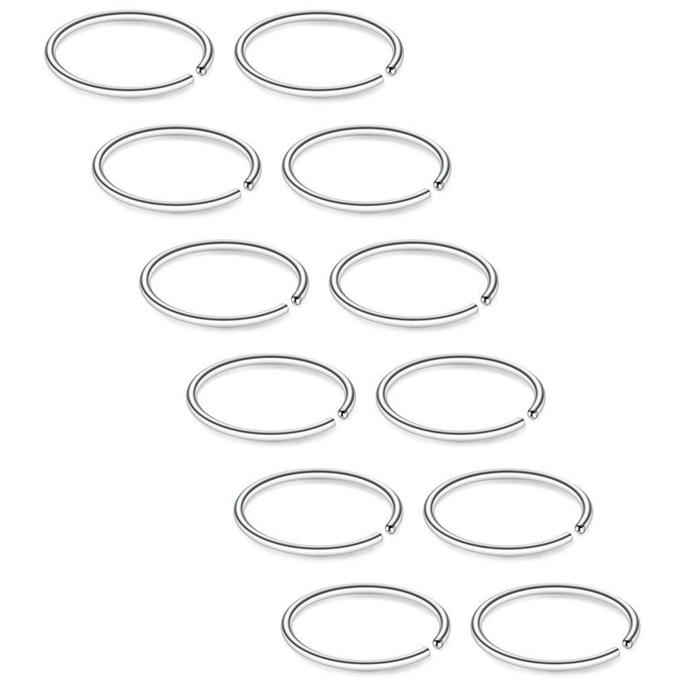 SCERRING 12PCS 20G Stainless Steel Fake Nose Septum Hoop Rings Lip Helix Cartilage Tragus Ear Ring Piercing 8-12mm BJS0047