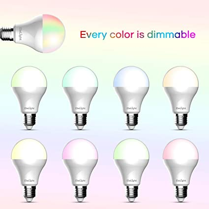 Smart WiFi LED Light Bulb, Multi-Color, Dimmable, Free APP Remote Controlled Home Night lamp, Compatible with Alexa, 4PCS Elelight SA68130517 Smart WiFi ...