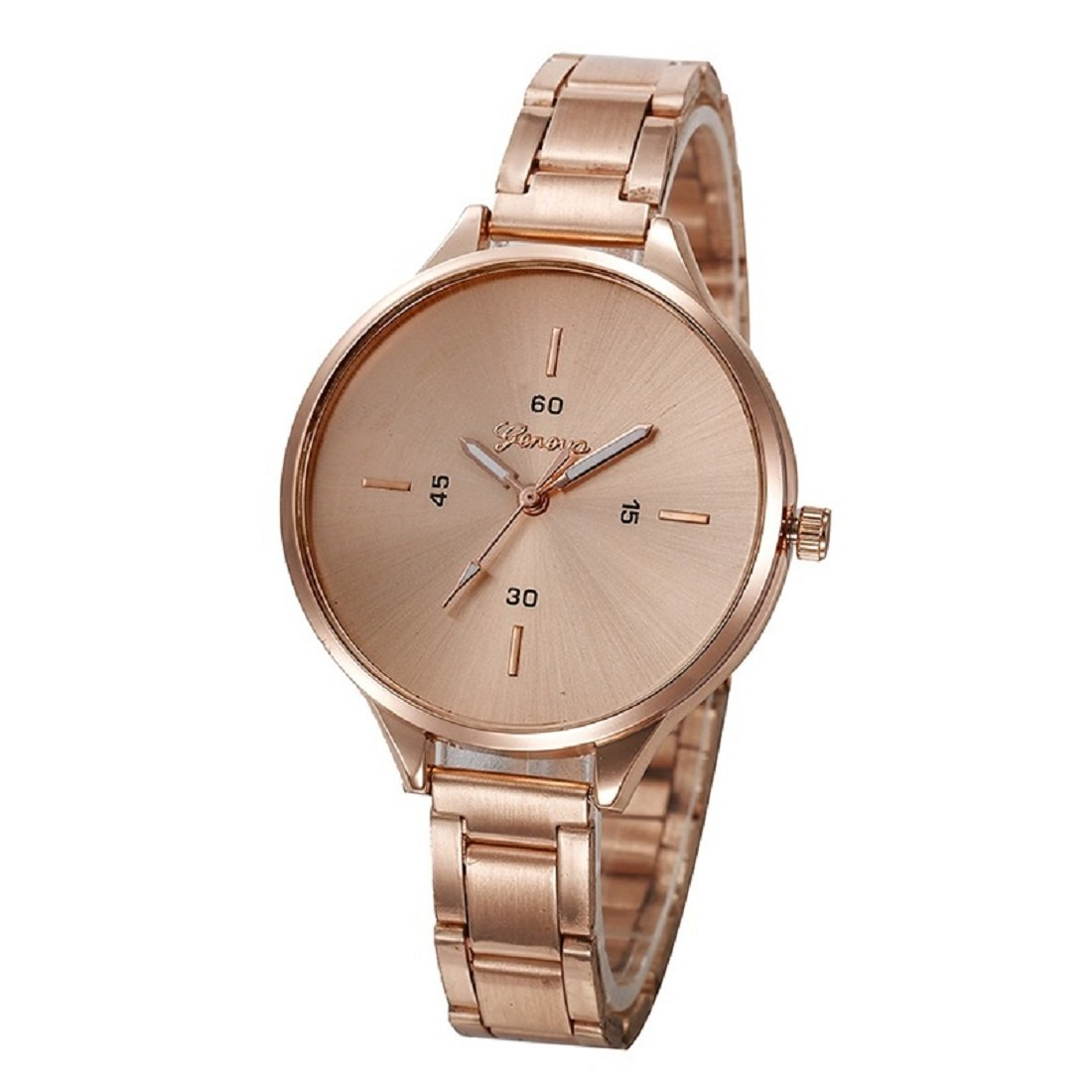 Geneva Platinum Analog Rose Gold Dial Women's Watch-GP-332
