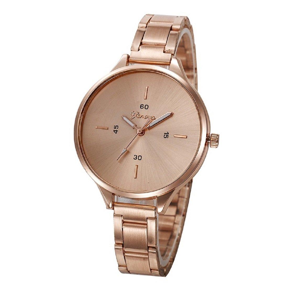 Geneva Platinum Analog Rose Gold Dial Women's Watch-GP-332