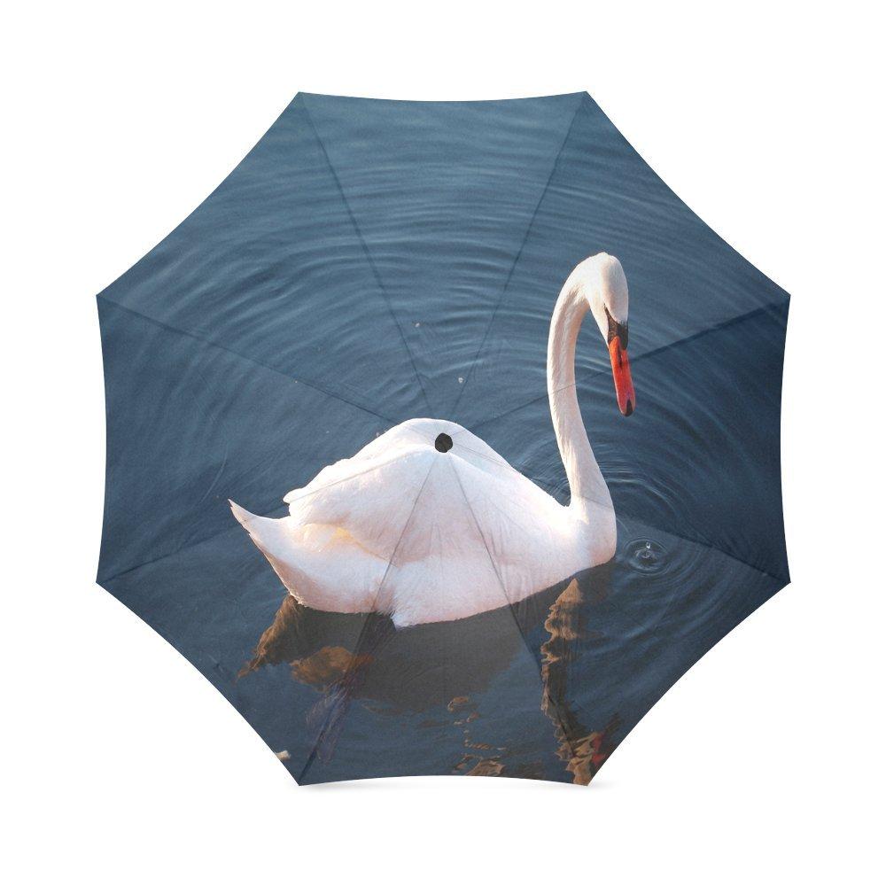 カスタムホワイトスワンコンパクト旅行防風防雨折りたたみ式傘 B075QL142G