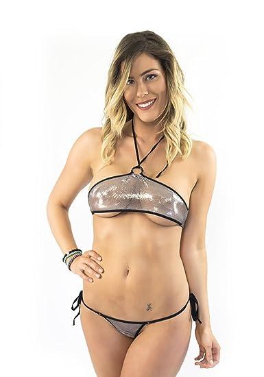 f94fbd89c3240 Amazon.com  Lena Style Sheer Halter Metallic Micro Bikini Swimsuit  Stripperwear G String (Medium)  Clothing