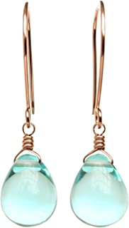 product image for Sky Blue Earrings Glass Drop 14/20 Rose Gold-Filled