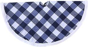 wlflash Buffalo Plaid Blue&White Decorative Tree Skirt Rustic Farmhouse Xmas Decorations Home Decor (Blue&White, 36