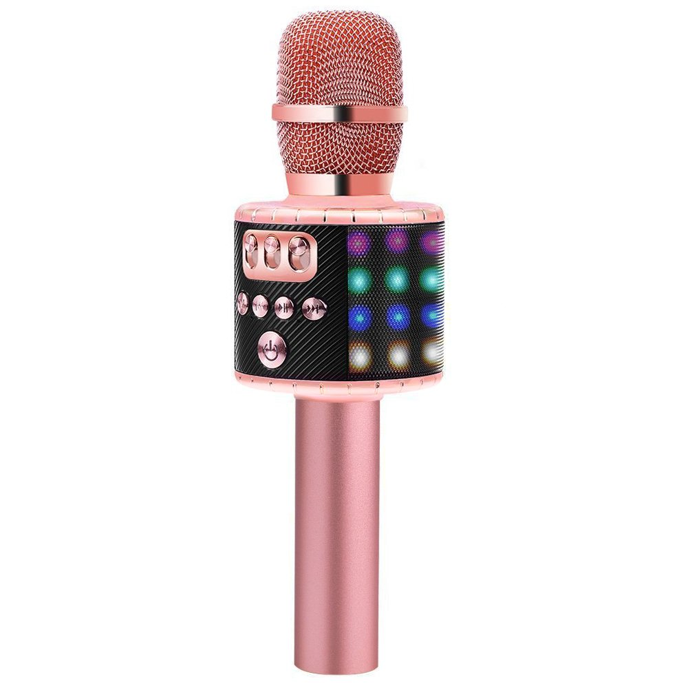 BONAOK Wireless Bluetooth Karaoke Microphone with Multi-color LED Lights, 4 in 1 Portable Handheld Home Party Karaoke Speaker Machine for Android/iPhone/iPad/Sony/PC or All Smartphone(Rose Gold)