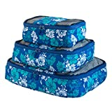 Floral Print Travel Packing Cubes Set, Mesh Bag, Travel Bag (3 Piece), Ideal for Travel and Closet Organizer