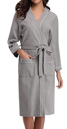 ANCHOVY Women Men Waffle Weave Bathrobe Long Cotton Hotel Kimono Spa Robe  P01 (grey fe3a087f9