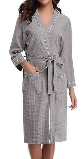 d1167f3085 ANCHOVY Women Men Waffle Weave Bathrobe Long Cotton Hotel Kimono Spa Robe  P01 (grey