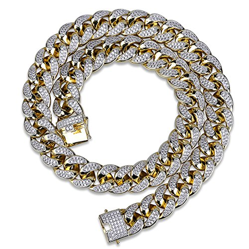 TOPGRILLZ 14K 18mm Gold Plated Full Iced Out Rhinestone Miami Cuban Chain Necklace Men (22.0)