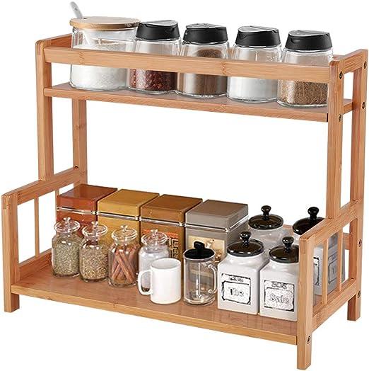 Ufine 2 Tier Bamboo Spice Rack Organizer Kitchen Countertop Storage Shelf  Free Standing Holder Under Cabinet Bathroom for Various Bottles, Jars,  Space ...