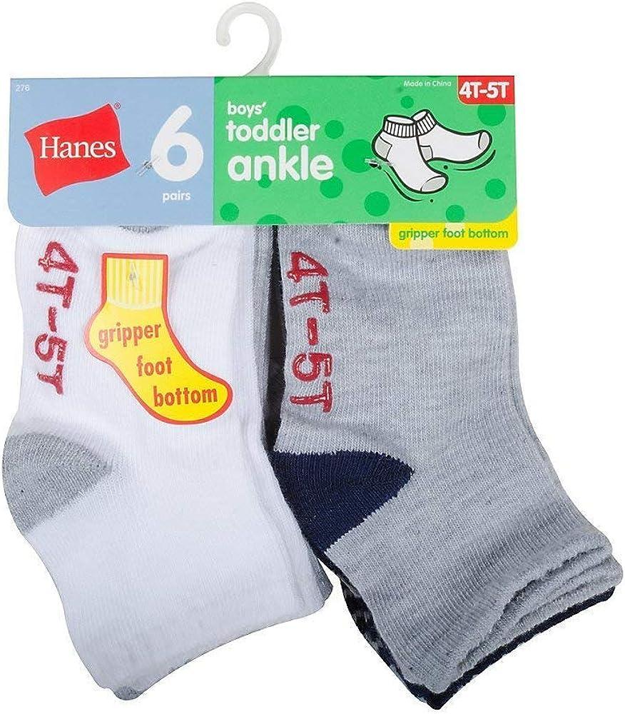 Boys/' Ankle Socks 6-Pack Hanes Toddler cotton EZ Sort Non-skid bottom All Sizes