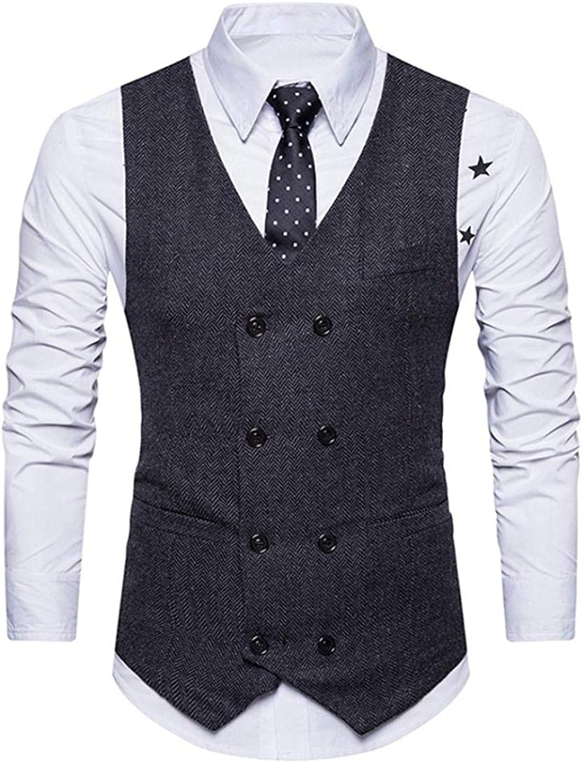 Muranba Clearance Men Formal Suit Vest Double Breasted Retro Slim