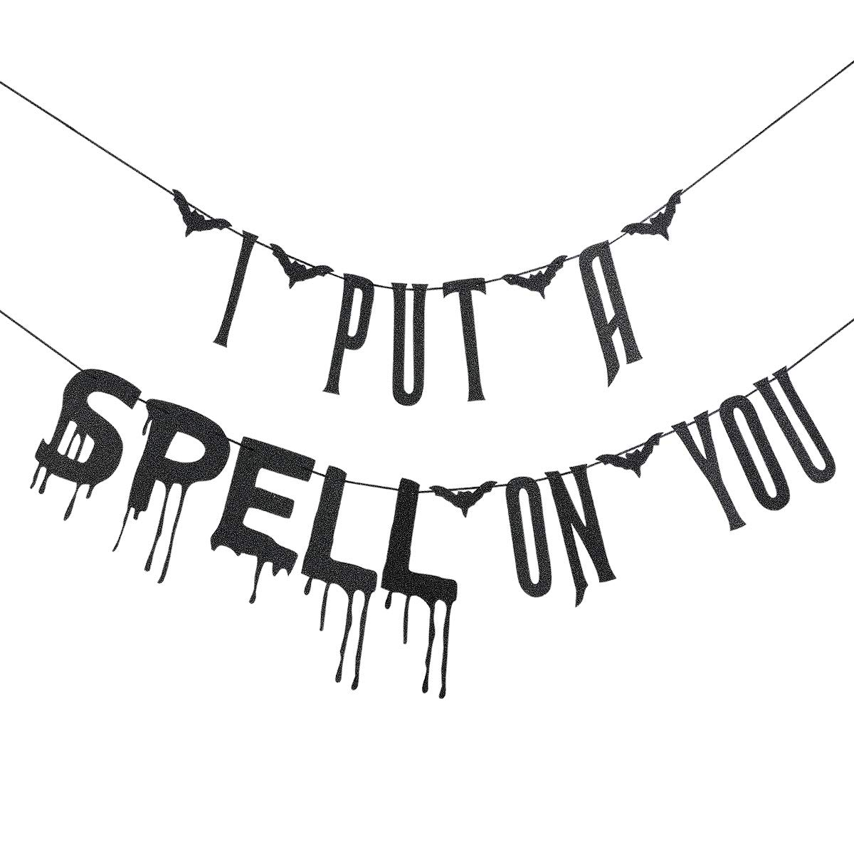 Black Glittery I Put A Spell On You Banner,Halloween Party Decorations