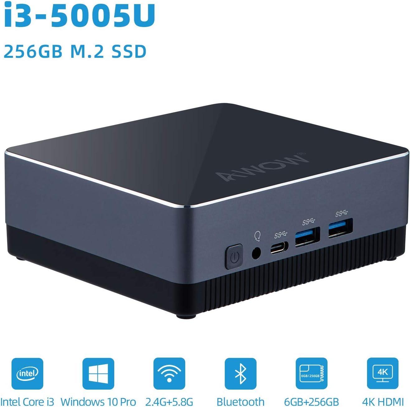 Mini PC Intel Core i3 5005U, 8GB DDR, 256GB M.2 SSD, Windows 10 Pro, Mini Desktop Computer AWOW NYi3 with 4K, Dual-Band Wi-Fi, Gigabit Ethernet, Dual HDMI, BT