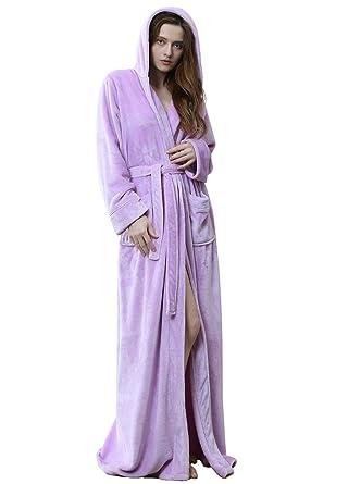 Women Winter Fleece Dressing Gown with Hood Fluffy Long Night Gown  Purple Red Blue f4a9ebce7