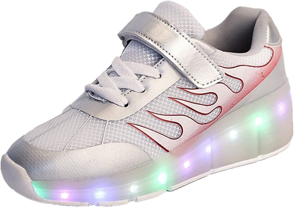 A2kmsmss5a Girls Boys LED Light Single Wheel Retractable Roller Skate Shoes Kids Sneakers
