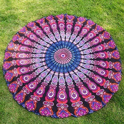 J Foldable Beach Mat, Scarf Beach Prints Round Scarves Ladies Holidays Sun Predection Shawls Comfortable Skin