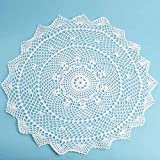 "20"" White Round Cotton Hand Crocheted Lace Doily for Home Decor"