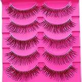 Pymega(TM) Hot Sale 5 Pairs Natural Sparse Cross Eye Lashes Extension Beauty Makeup Long Fake False Eyelashes Thick Beam