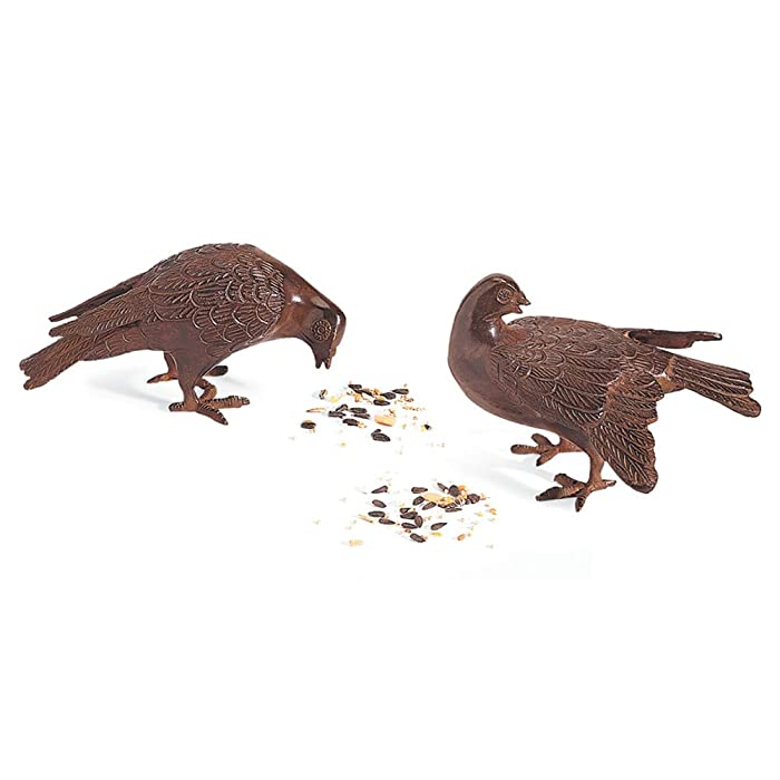 Achla Designs DOV-01 Bronzed Pair Garden Animal Statuary Ornament Dove Bird, Antiqued